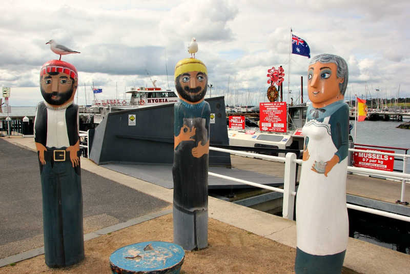 3 Geelong bollards on the waterfront.