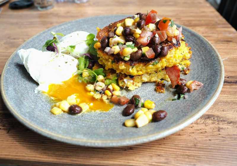 Pic of corn fritters at 9 Grams Cafe in Pakington Street Newtown.