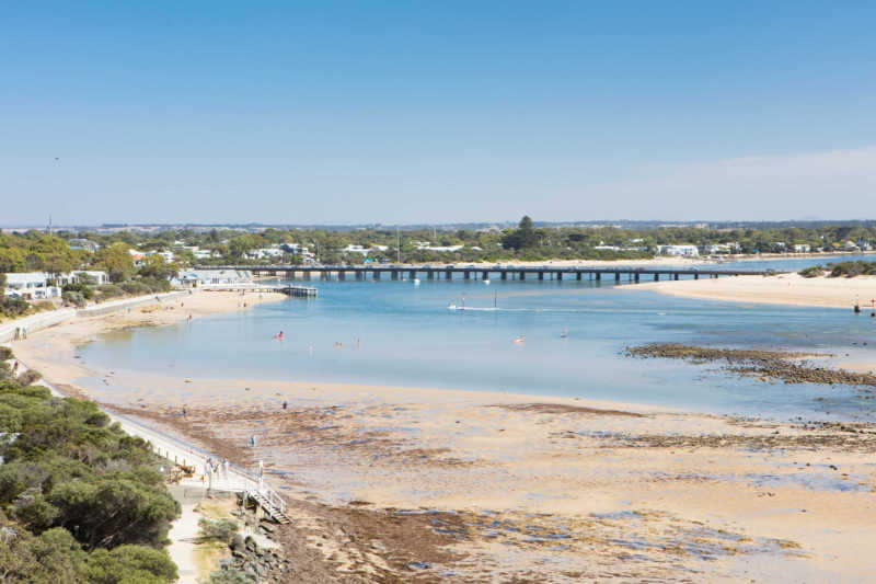 Barwon Heads beach with bridge.