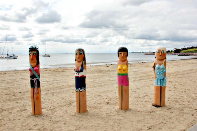 Bathing beauties bollards at Geelong beach.