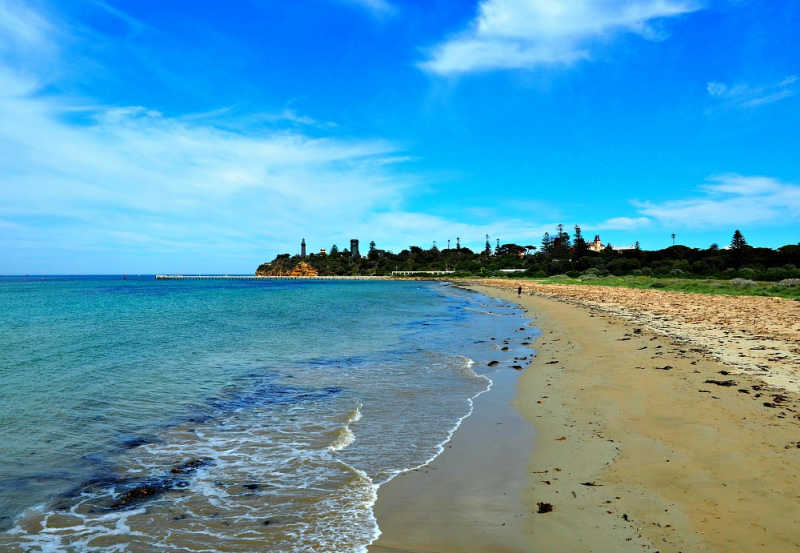 View of the beach at Queenscliff with the lighhthouse in the distance.