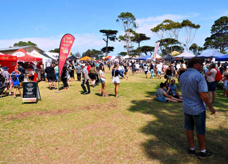 Festival goers at the Portarlington Mussel Festival on the Bellarine Peninsula.