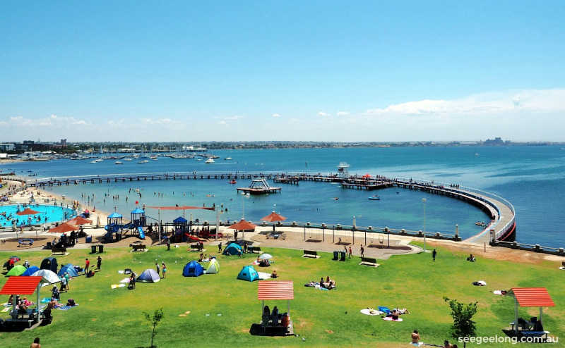 View of Eastern Beach Reserve, children's pool and Geelong Waterfront promenade.
