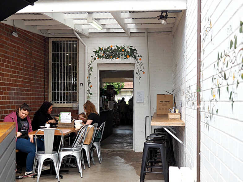 Back entrance to Feast vegan cafe.