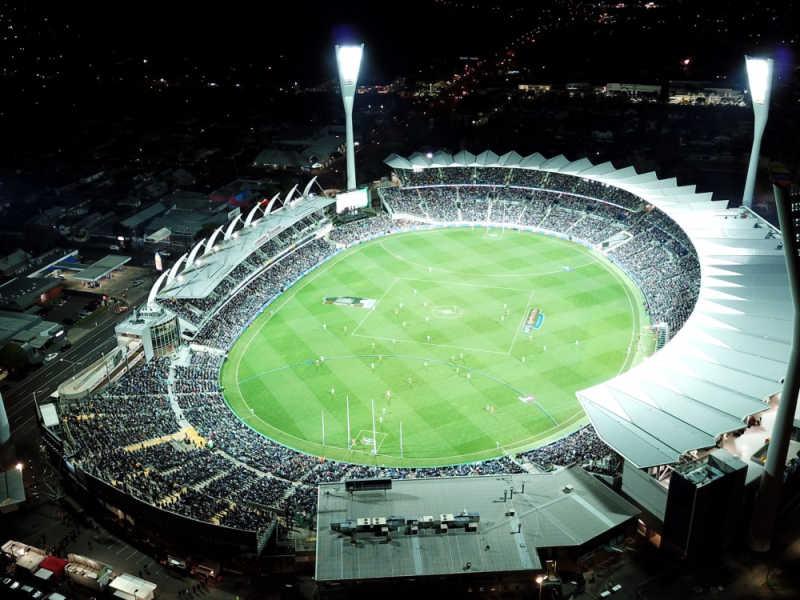 Aerial view of GMHBA Stadium at Kardinia Park.
