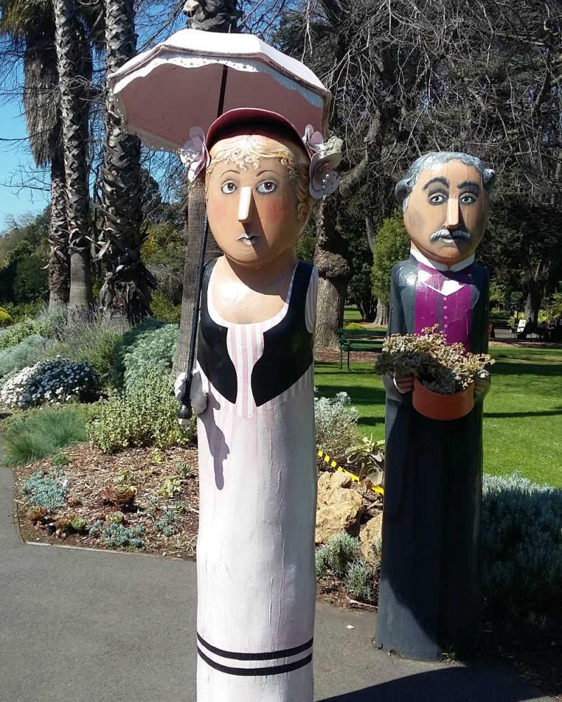 Bollards at the Geelong Botanical Gardens entrance.