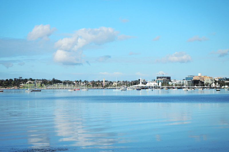 View of Corio Bay and Geelong luxury accommodation.