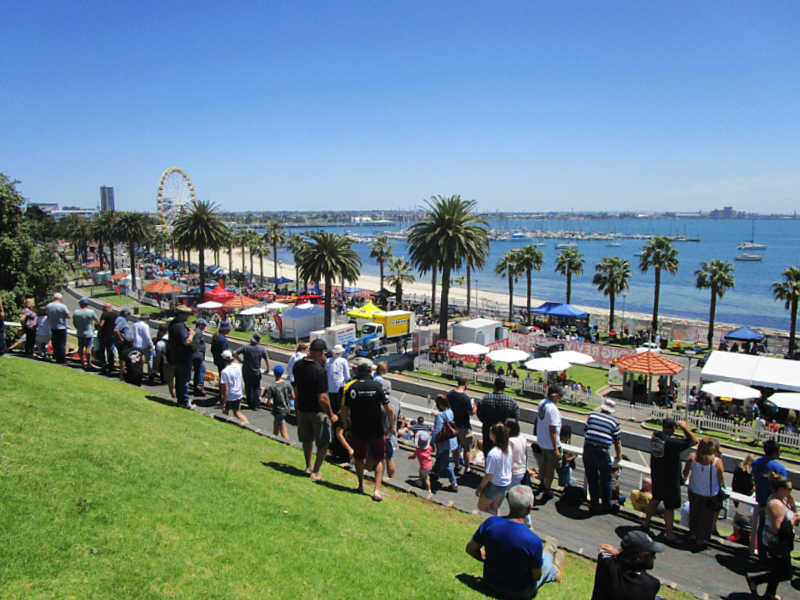 People watching the Geelong Revival car racing at Waterfront Geelong.