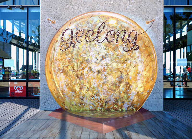 Image of a Geelong sign outside the carousel.