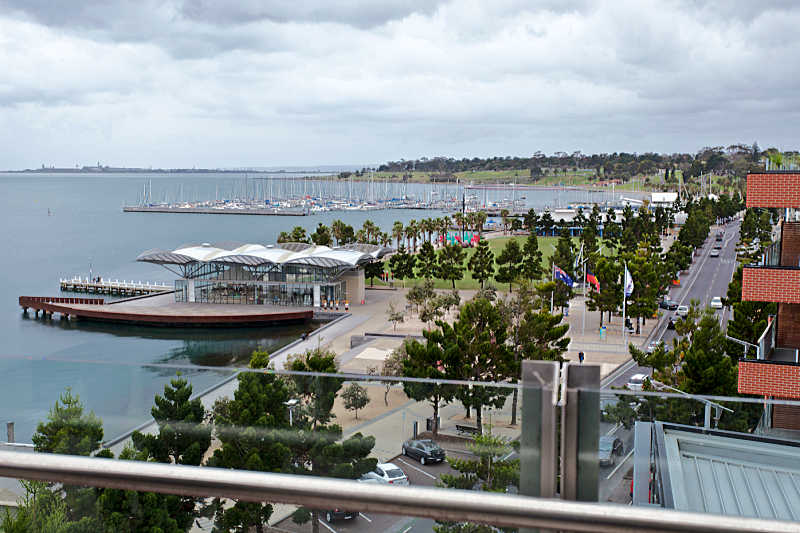 View of the carousel and bay from Geelong waterfront accommodation.