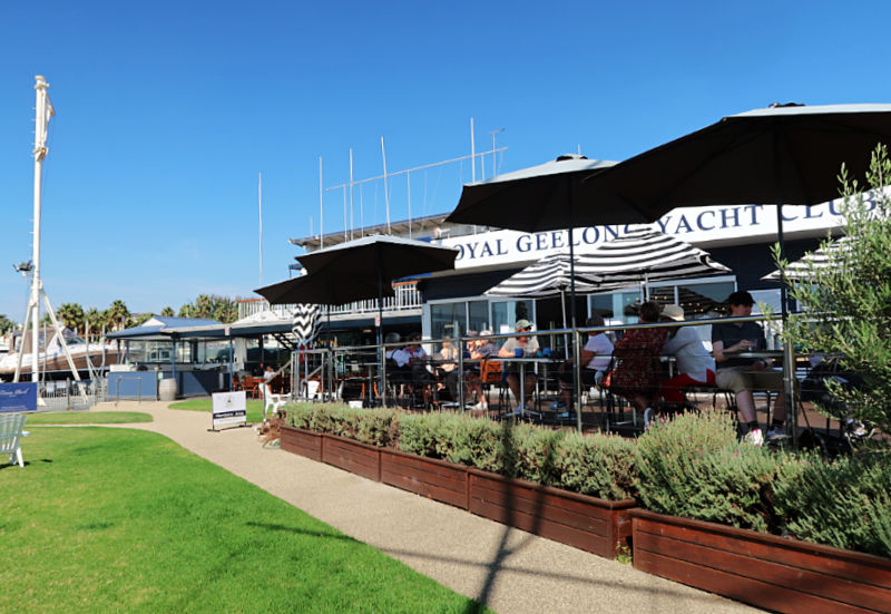View of Yot the Royal Geelong Yacht Club cafe.