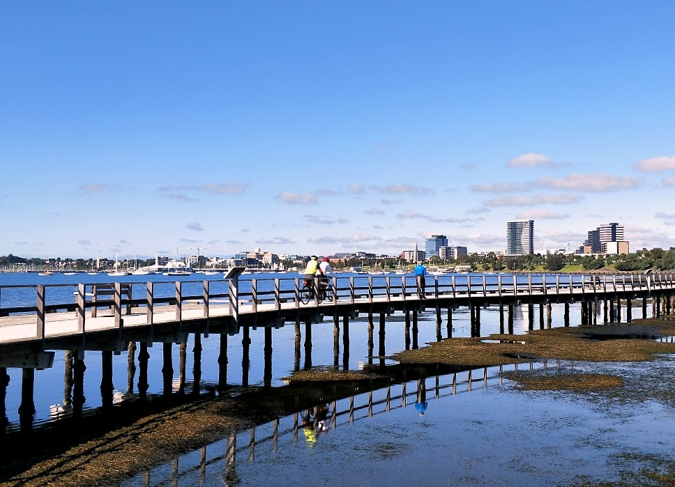 View of the boardwalk and city skyline at Western Beach Geelong City.