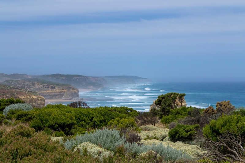 View of the Great Ocean Road Victoria coastline.