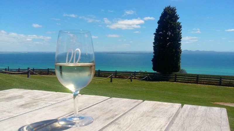 Bay views and wine glass at Jack Rabbit a Geelong winery.