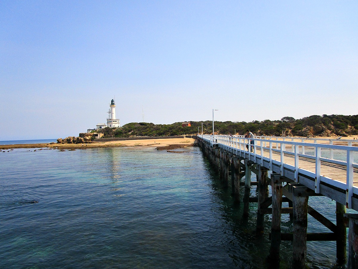 Point Lonsdale pier and lighthouse on the Bellarine Peninsula.