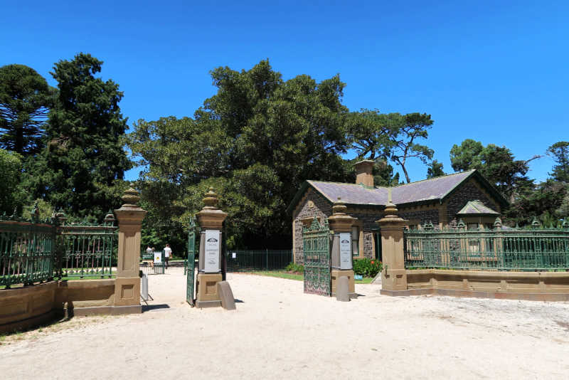View of the entrance and Gatehouse at Werribee Mansion.t