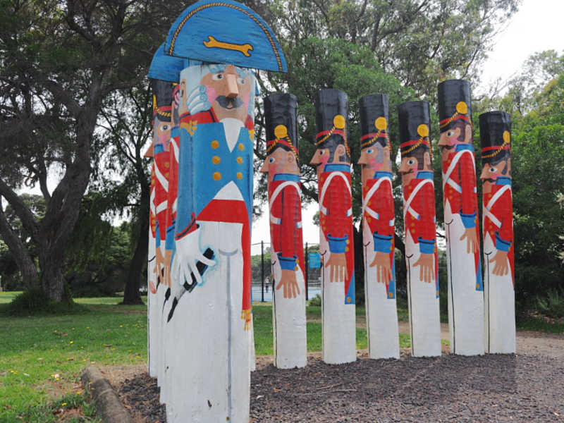 Marching soldiers bollards in Barwon Heads on The Bellarine.
