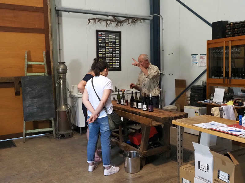 People tasting Bellarine Peninsula wines at Marcus Hill Winery.