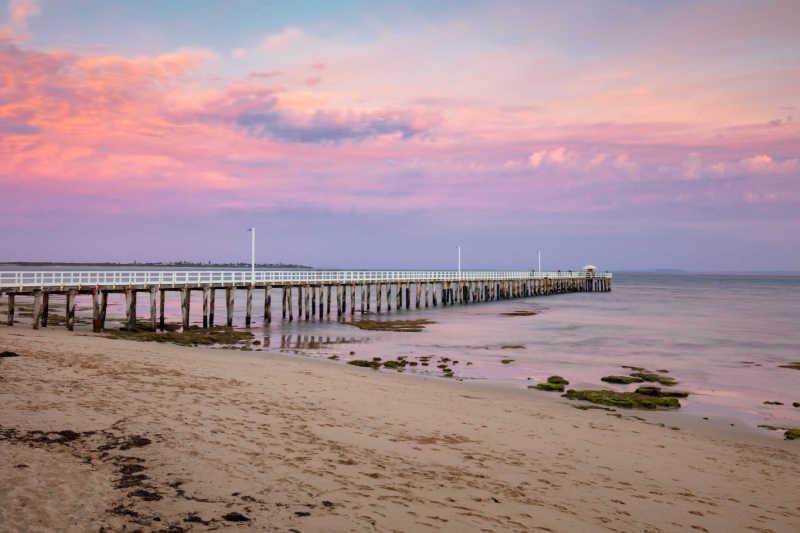Point Lonsdale beach and pier on the Bellarine Peninsula Victoria Australia..