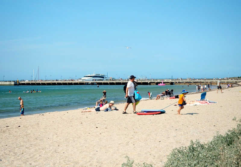 Portarlington beach and pier with the Port Phillip Ferry in the background.