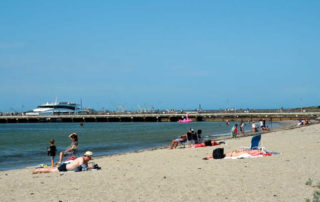 Picture of people at Portarlington Beach and pier.
