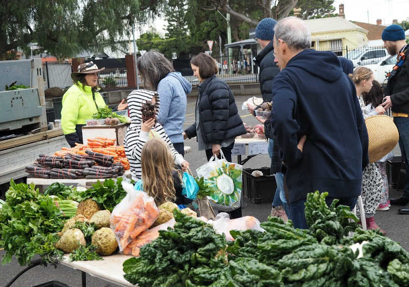 Fresh veggies at South Geelong Farmers Market.