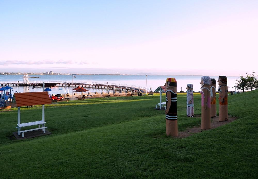 Bollards overlooking Eastern Beach in Geelong Australia at sunrise.