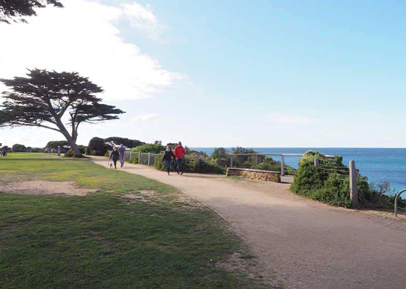 People walking along the Surf Coast Walk in Torquay Victoria
