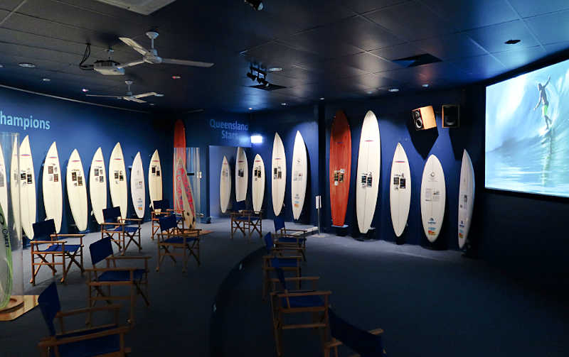 Surfboards and screen at the Surfing Hall Of Fame