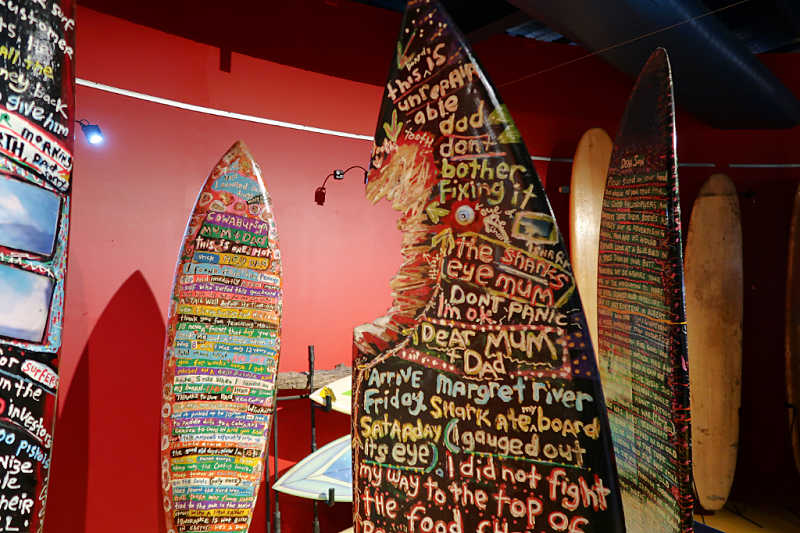 Artistic surfboards at the Australian National Surfing Museum, Torquay.