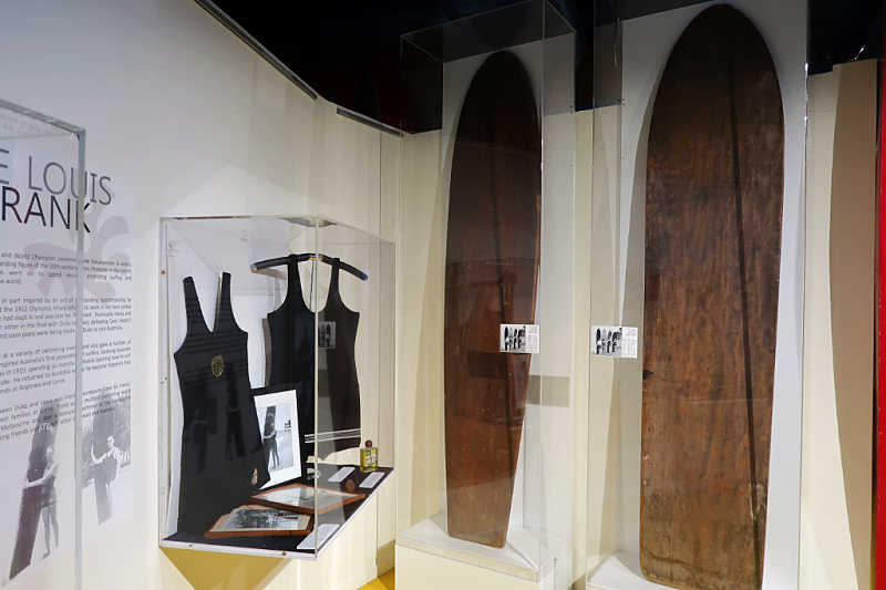 Old surfboards and swimming costumres at the Surf Museum Torquay