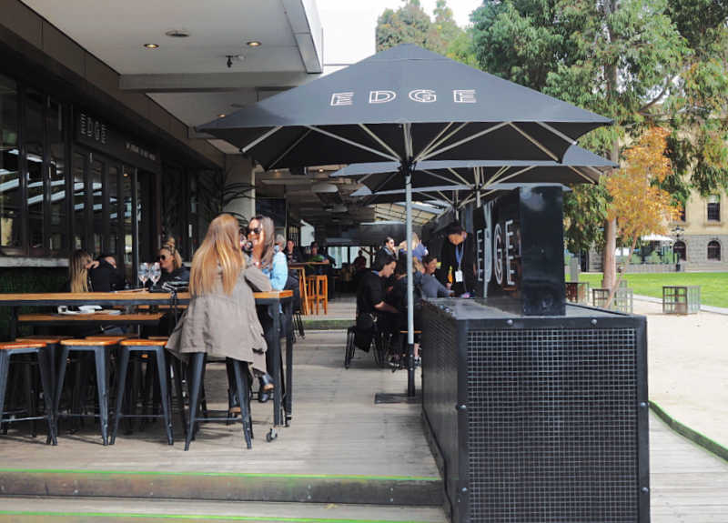 Al fresco dining at the Edge Geelong cafe.