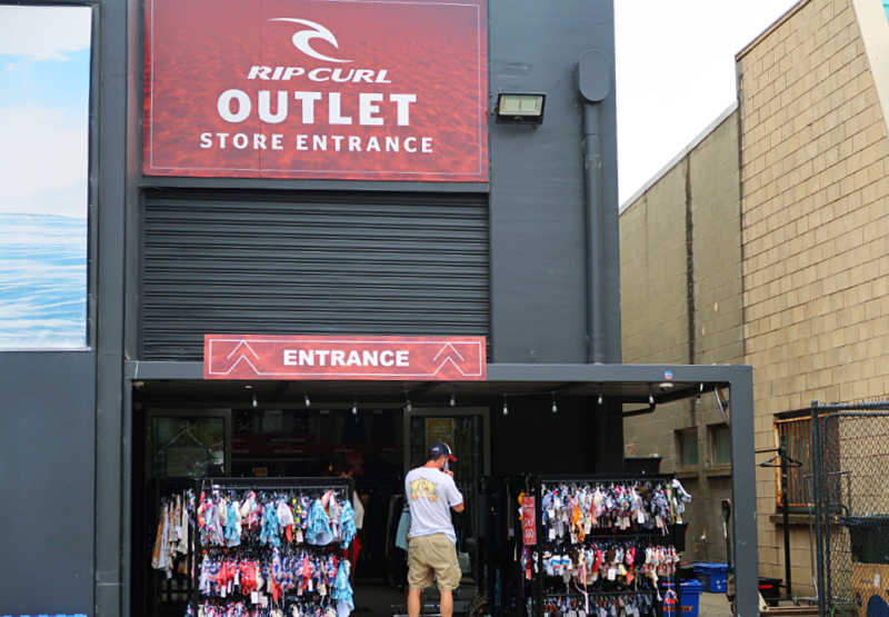 Man entering the Torquay outlets.