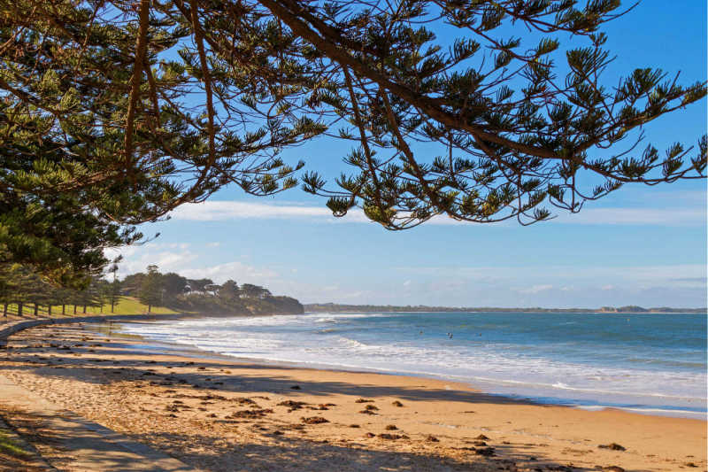 View of Torquay beach along the foreshore in Victoria, Australia.