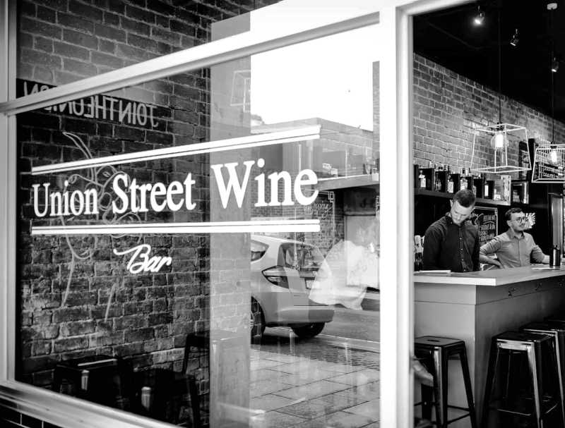 Black and white image of Union Street Wine Bar Geelong