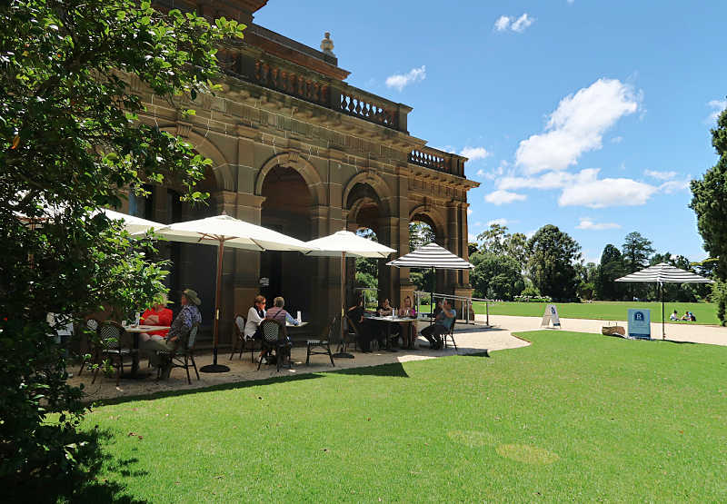 People dining at the Werribee Mansion Cafe.